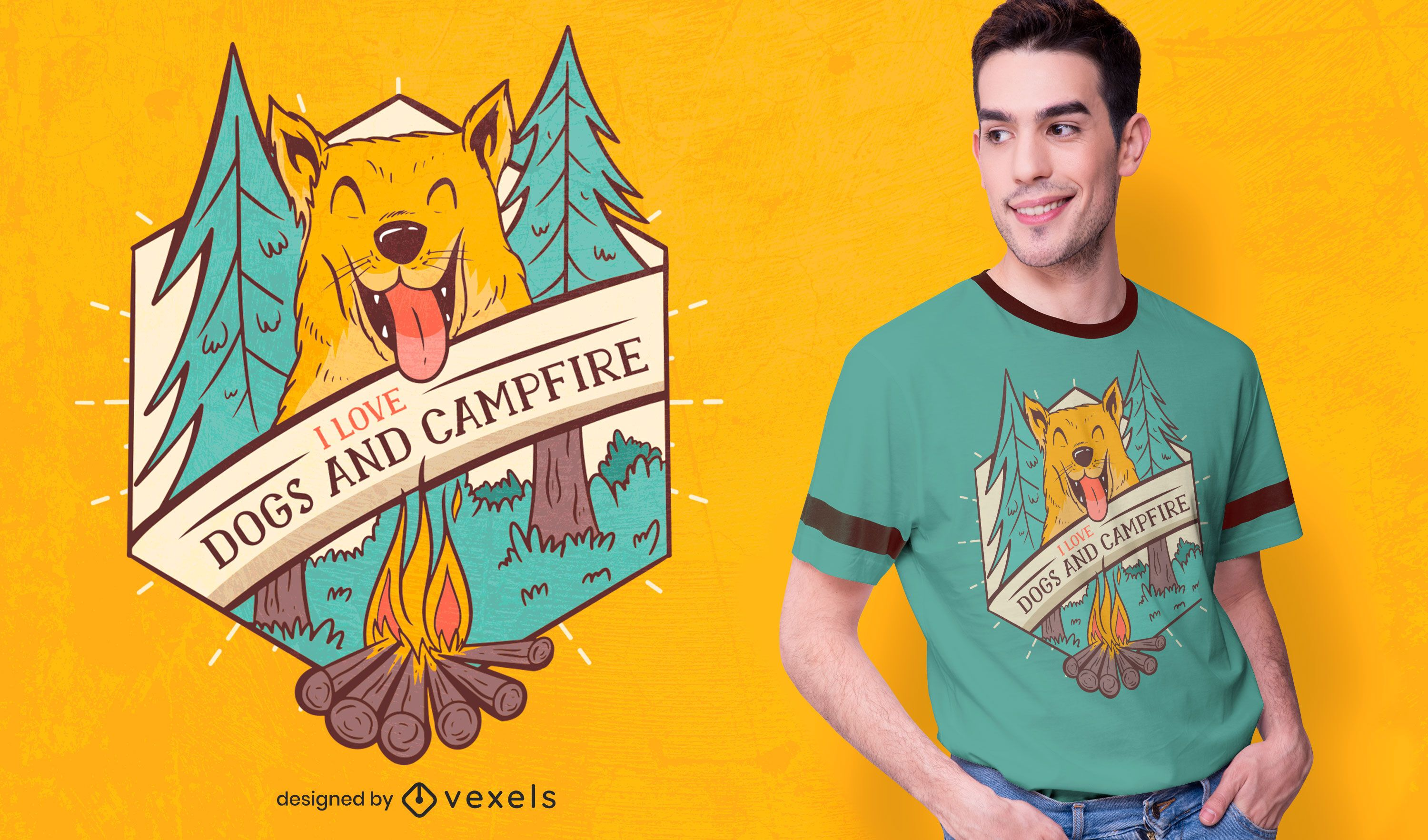 Dogs and campfire t-shirt design
