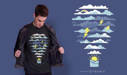 Design de camiseta meteorológica em balão de ar quente