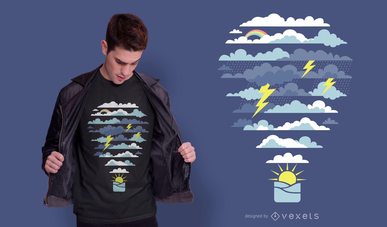 Diseño de camiseta de clima en globo aerostático.