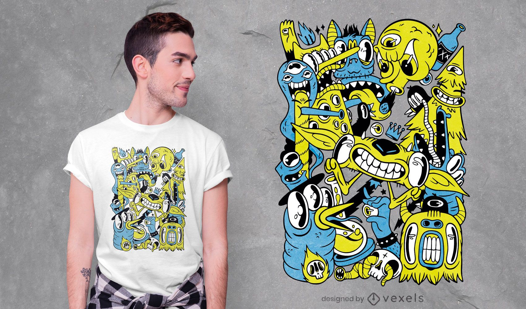 Design de camiseta com colagem de monstro