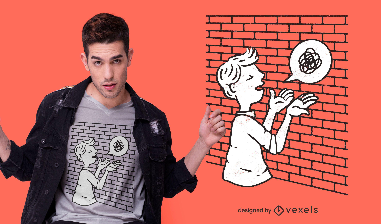 Homem falando com design de camiseta de parede
