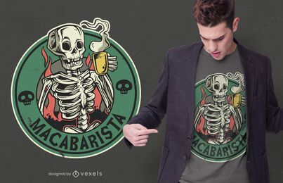 Diseño de camiseta macabro barista