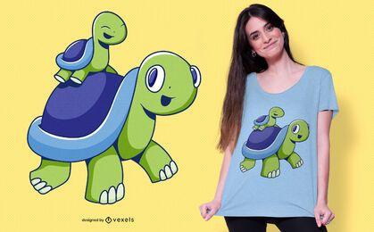 Diseño de camiseta de familia tortuga.