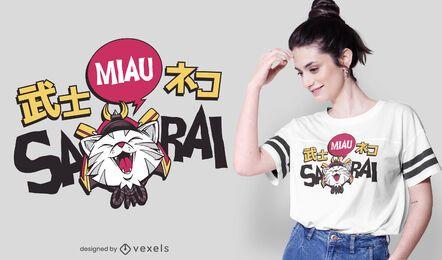 Diseño de camiseta de gato samiaurai