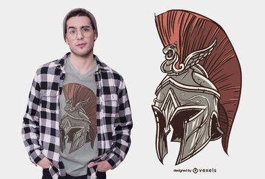 Diseño de camiseta de casco espartano.
