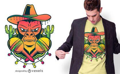 Diseño de camiseta de gorila mexicano.