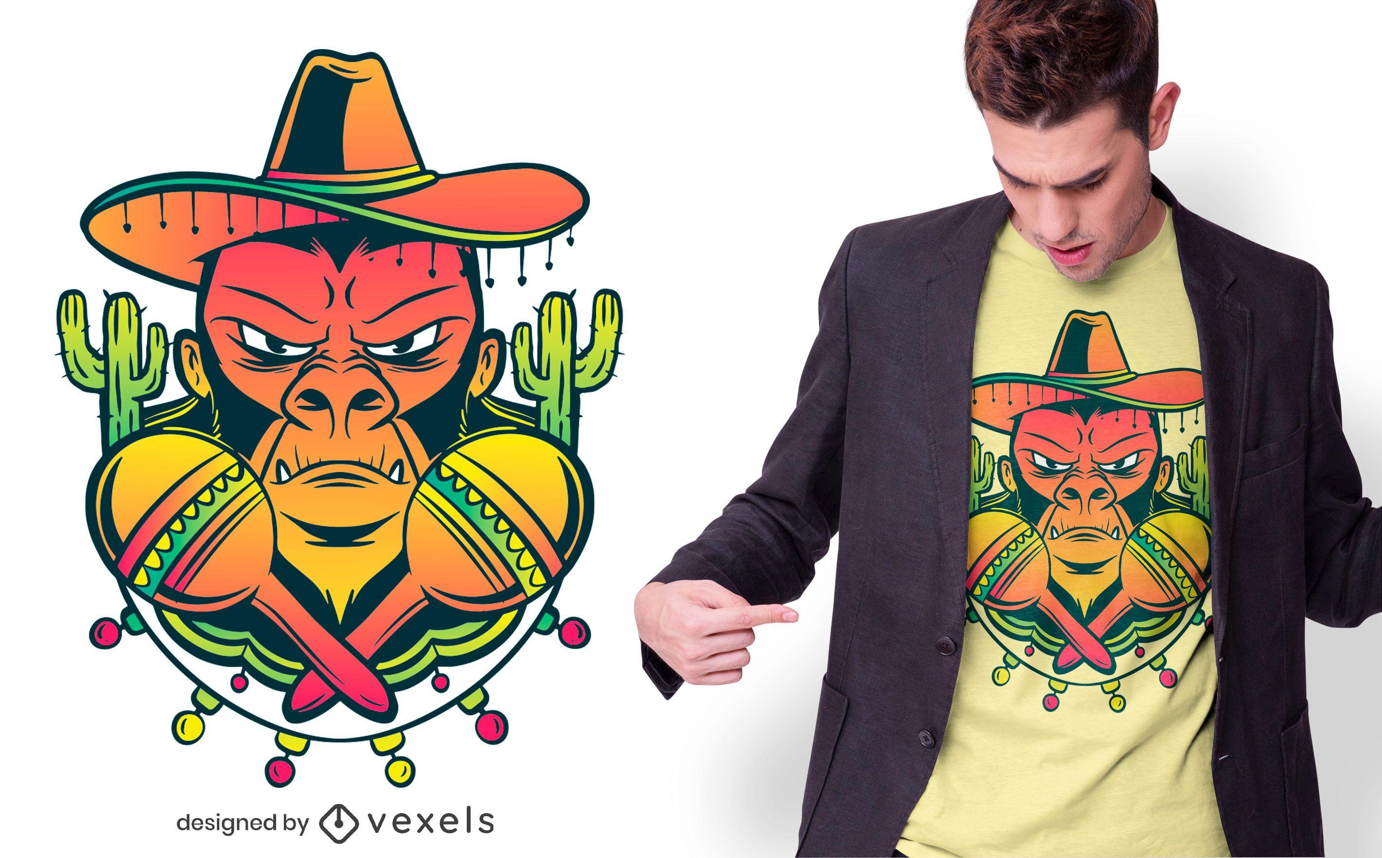 Mexican gorilla t-shirt design