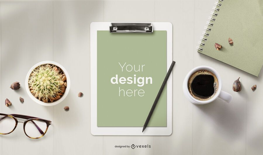 Clipboard stationery mockup composition