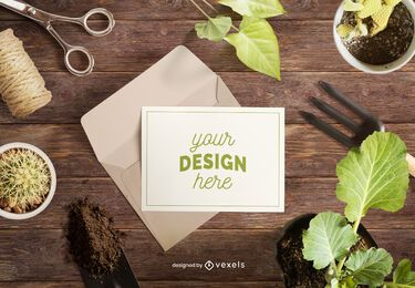 Composición de maqueta de jardinería de tarjetas de felicitación