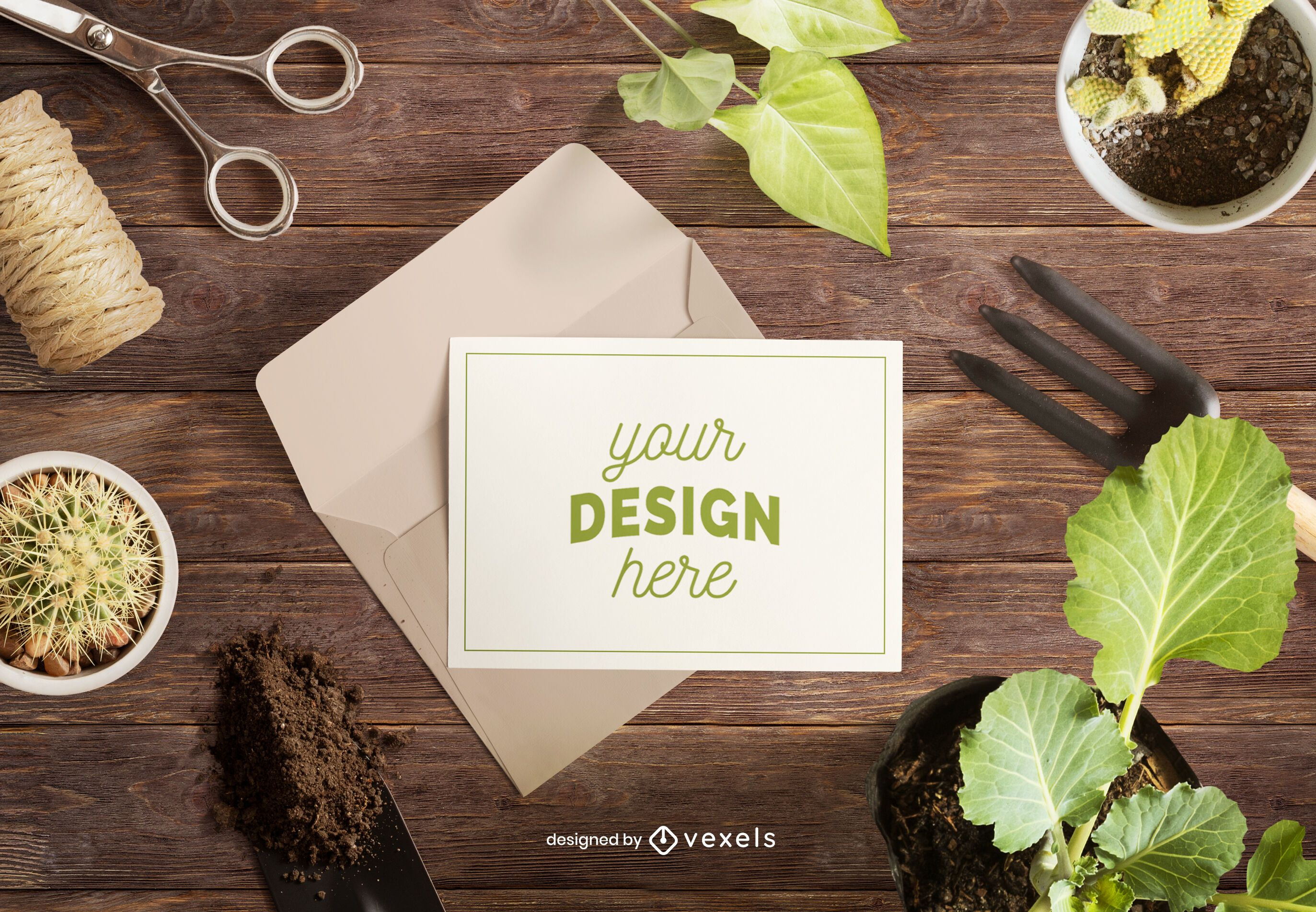 Greeting card gardening mockup composition