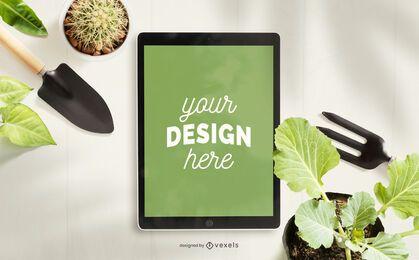 Composición de maqueta de ipad de jardinería