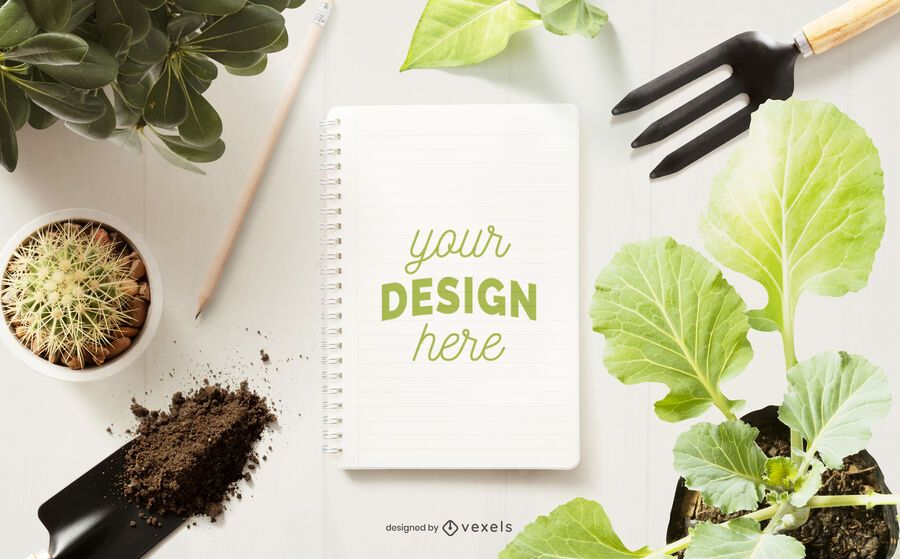 Gardening notebook mockup composition