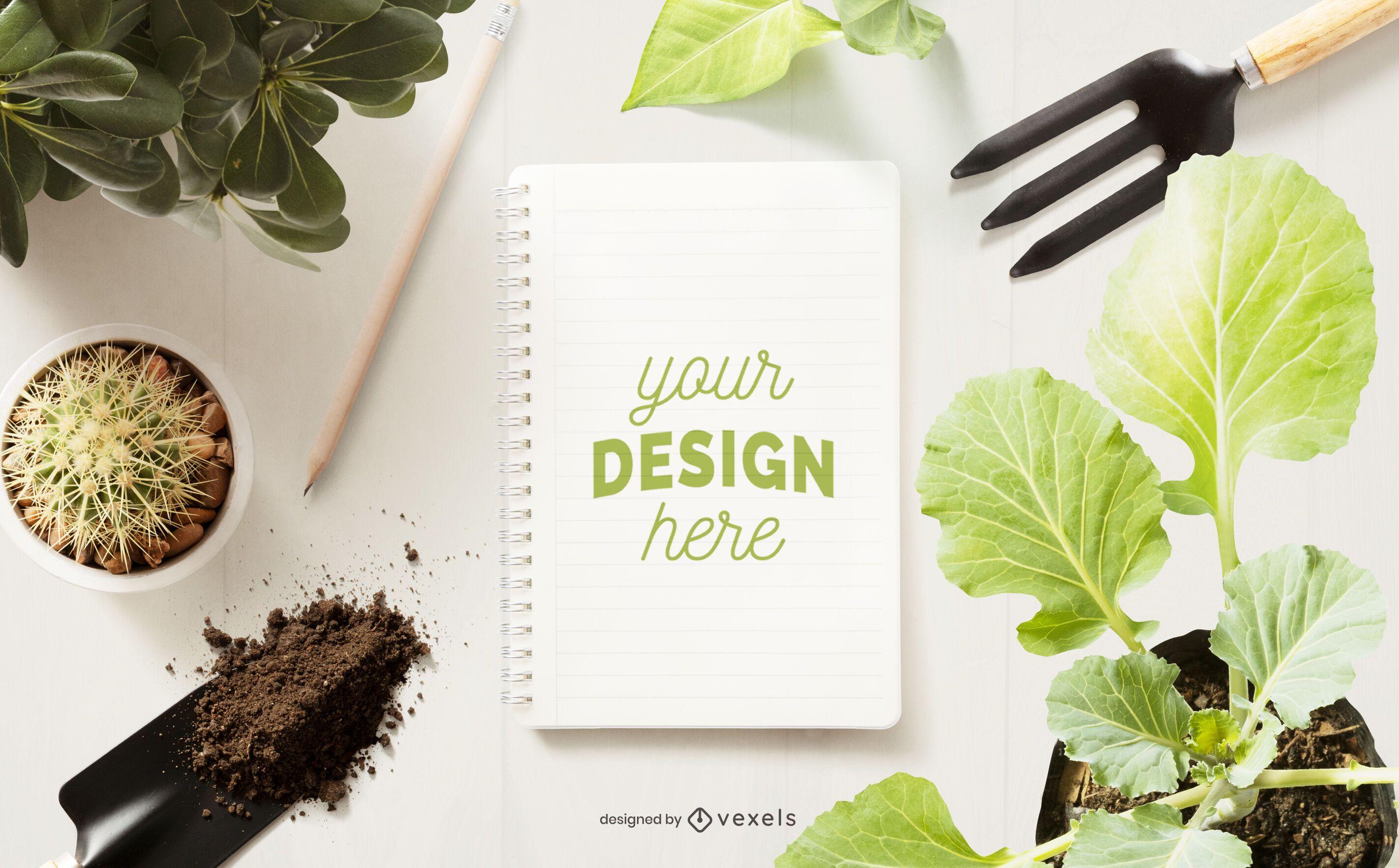 Composición de maqueta de cuaderno de jardinería