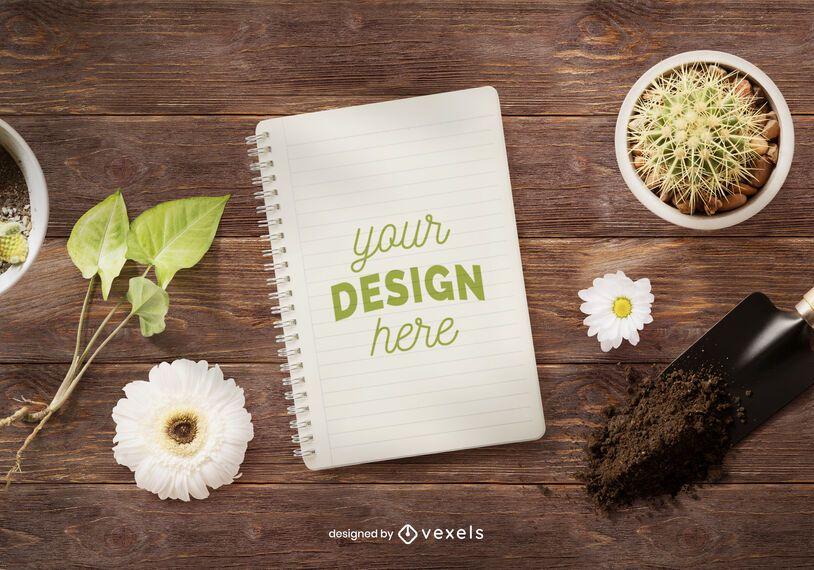 Notebook gardening mockup composition