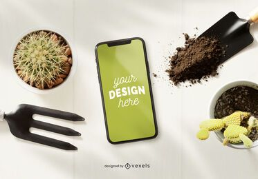 Iphone gardening mockup composition
