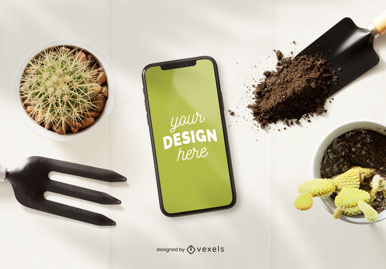 Composición de maqueta de jardinería de iphone