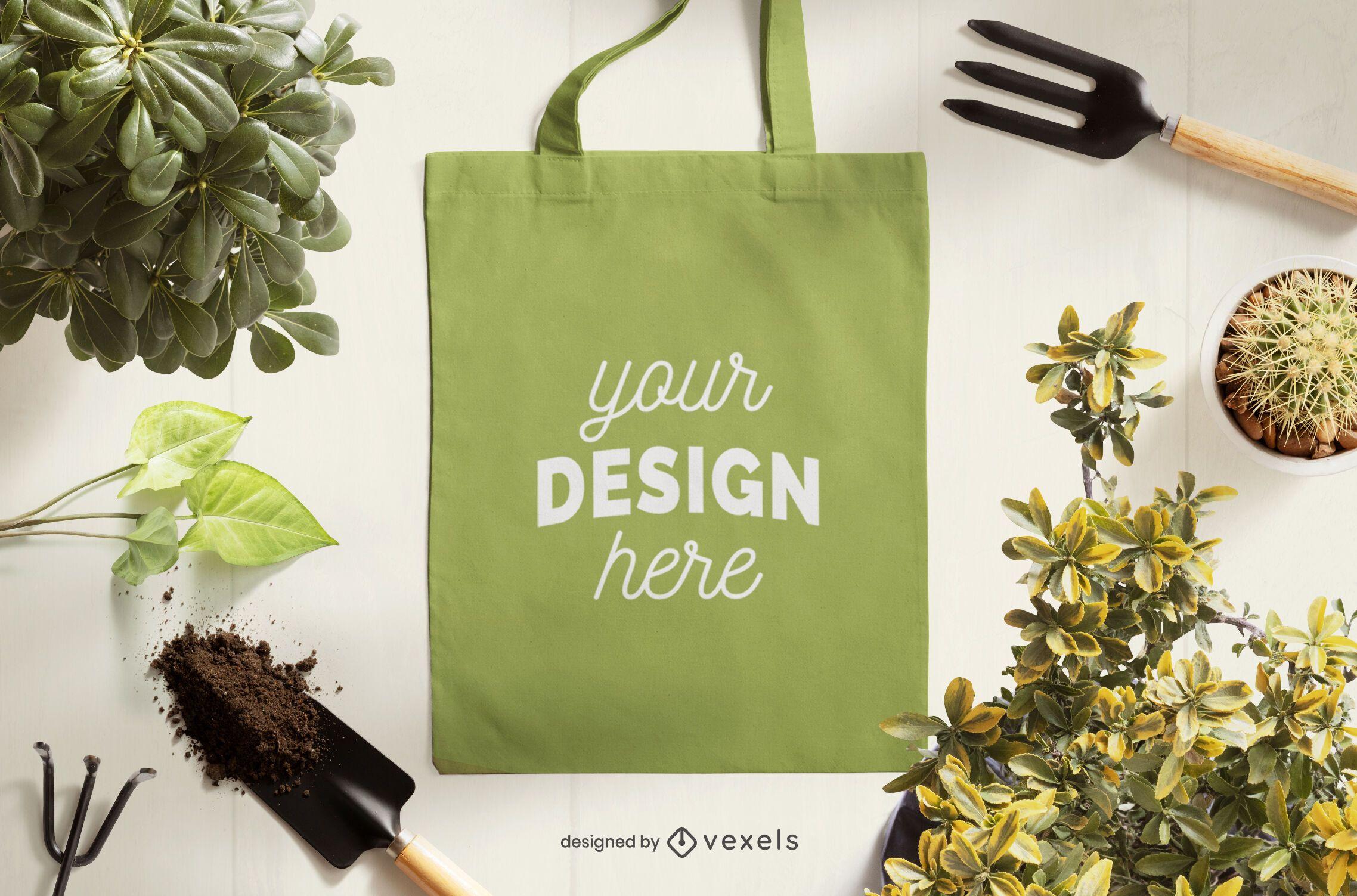 Composição de maquete de sacola de jardinagem