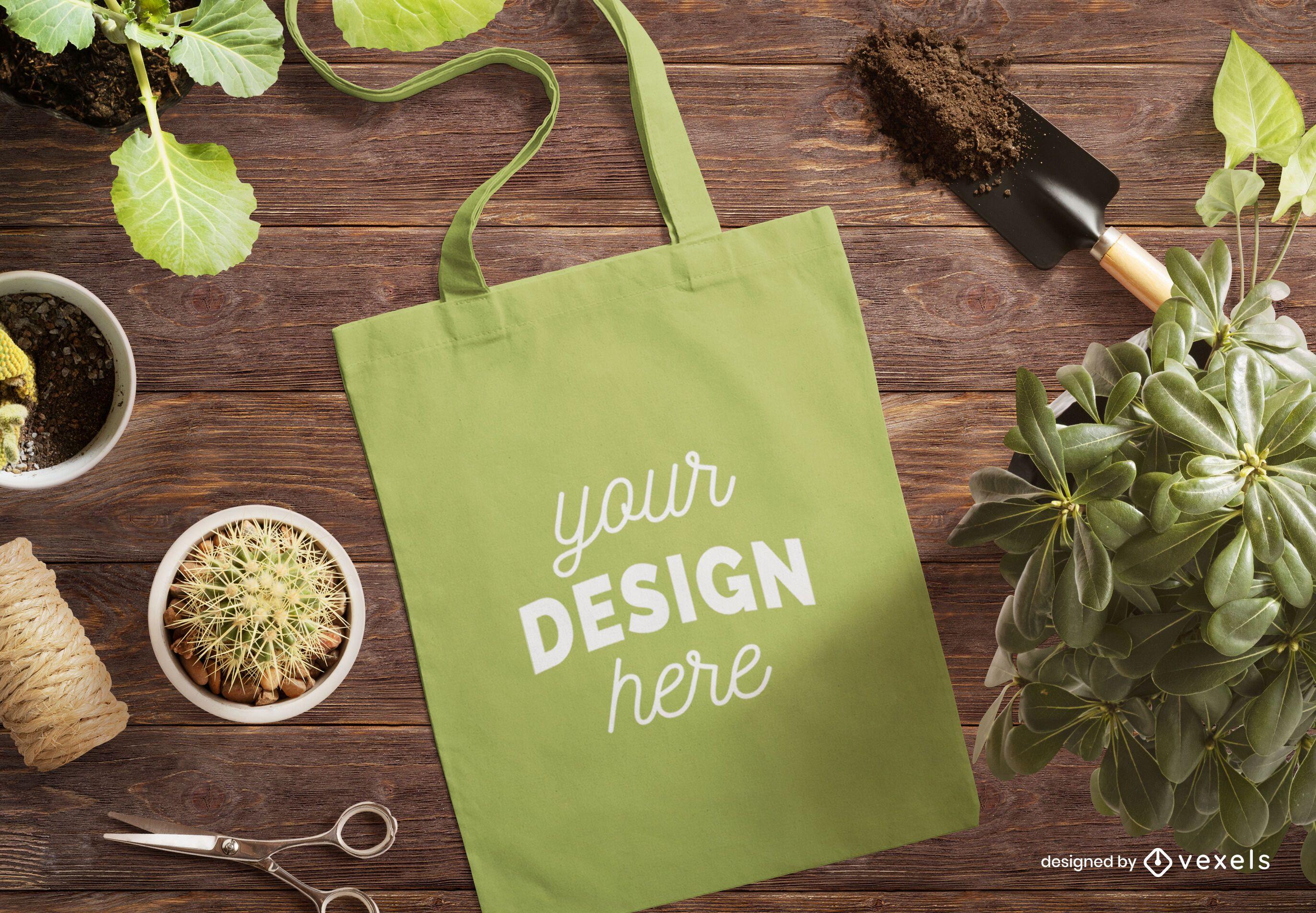 Tote bag gardening mockup composition