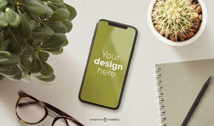 Composición de maqueta de plantas de iphone
