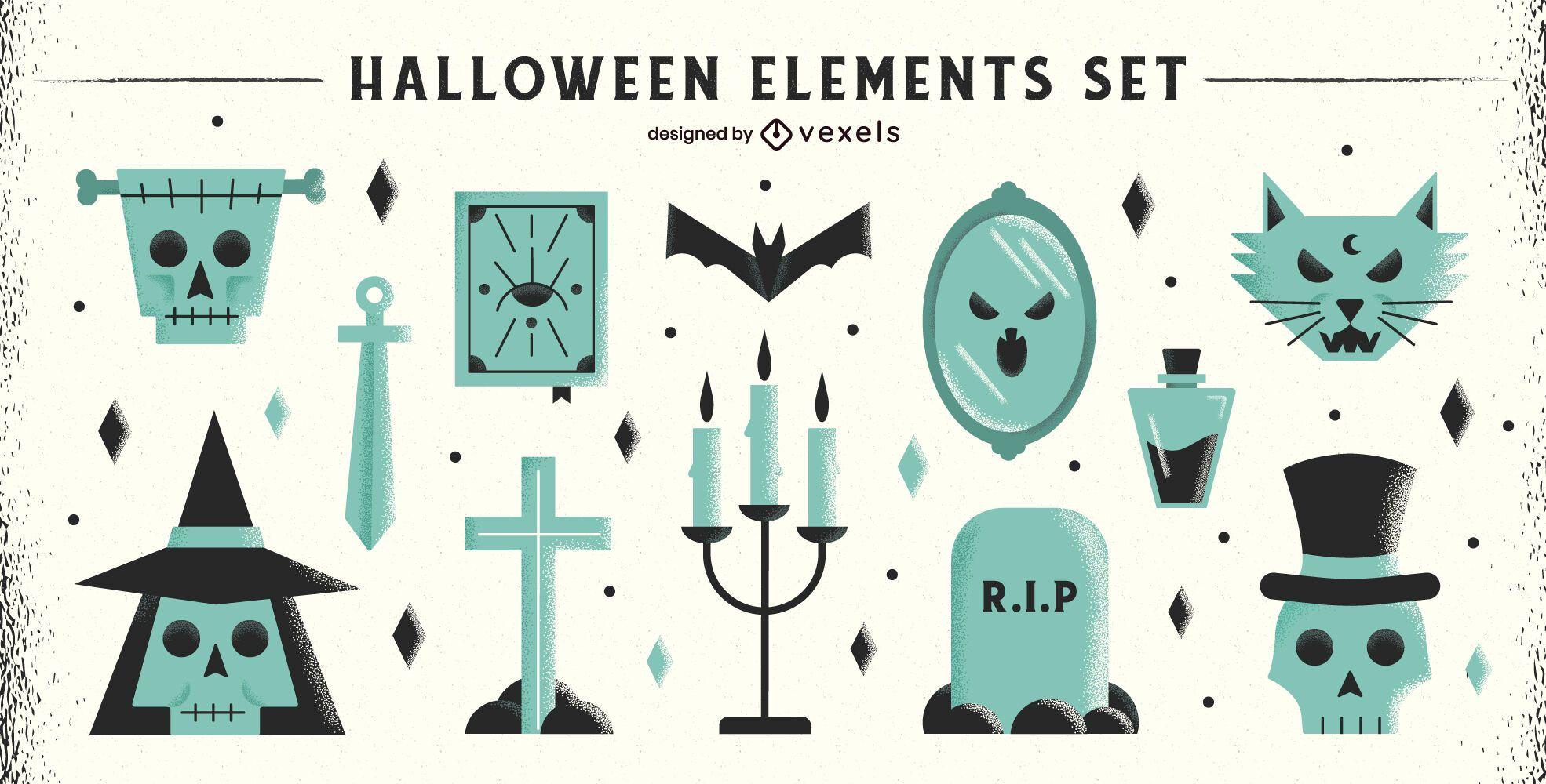 Paquete de elementos planos de Halloween