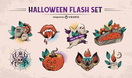 Desenhos de tatuagem de Halloween da velha escola