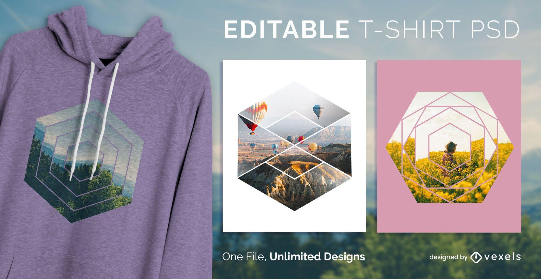 Hexagon scalable t-shirt psd