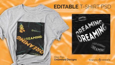 T-shirt escalável com texto decrescente psd