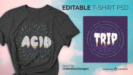 Diseño psd de camiseta psicodélica