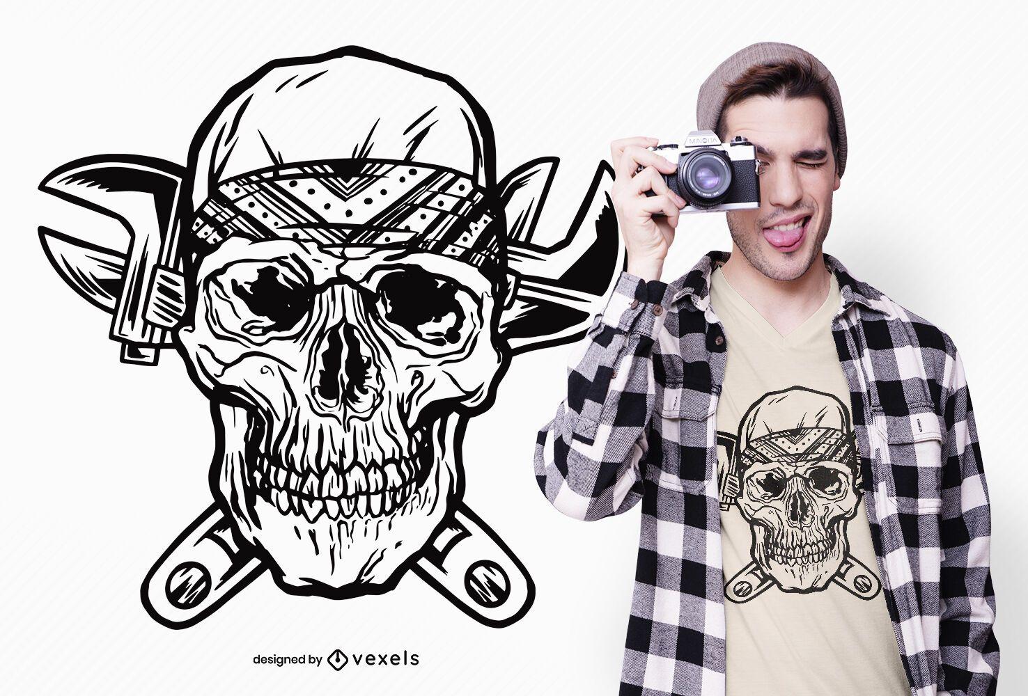 Wrenches skull t-shirt design