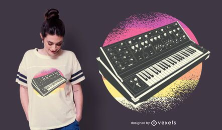 Diseño de camiseta retro sintetizador.