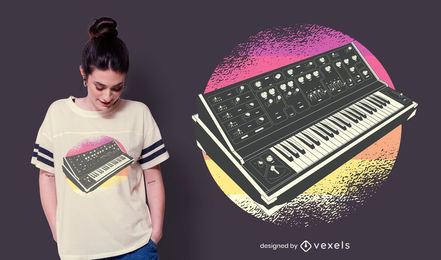 Synthesizer retro t-shirt design