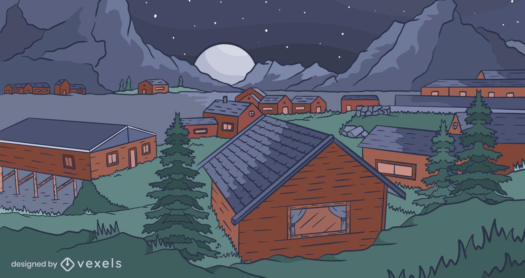 Diseño de fondo de pueblo de noche