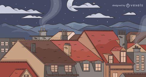 Desenho do plano de fundo da cidade noturna