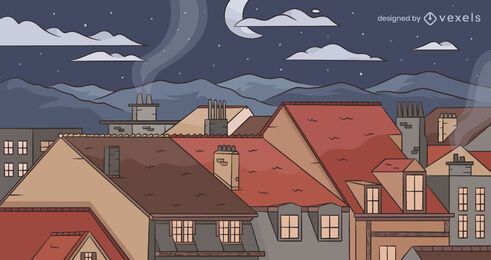 Diseño de fondo de la ciudad de noche