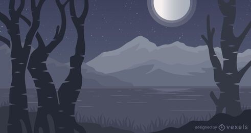 Forest night background design