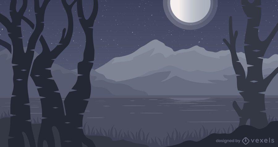 Projeto do fundo da floresta à noite