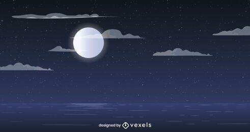 Diseño de fondo de océano de luna llena