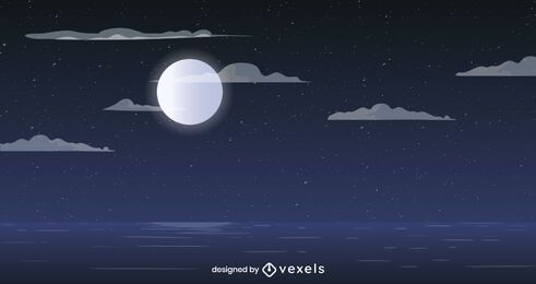 Full moon ocean background design