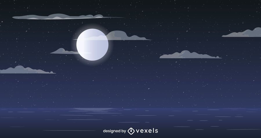 Full moon ocean background design