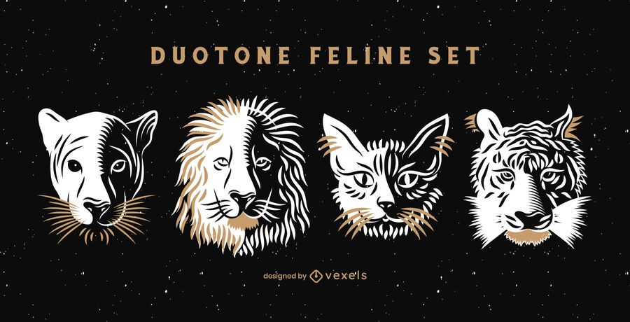 Duotone feline set