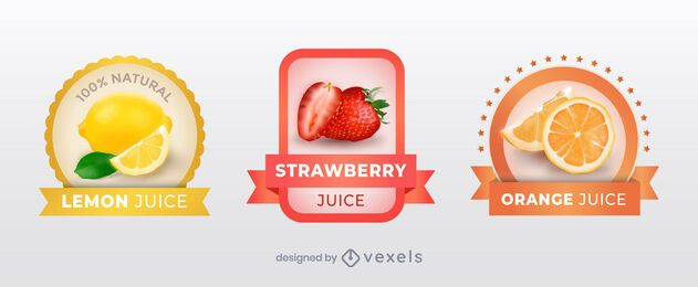 Realistic juice label set