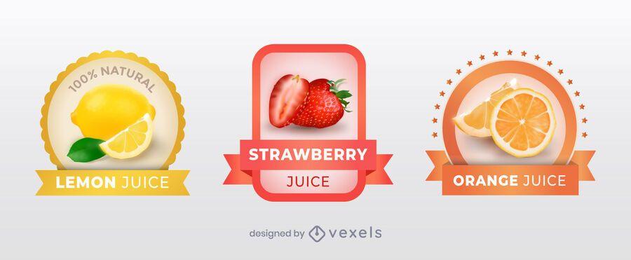 Realistic juice label set