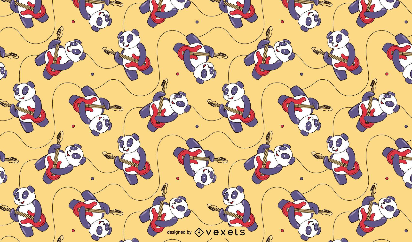 Diseño de patrón de guitarrista de Panda