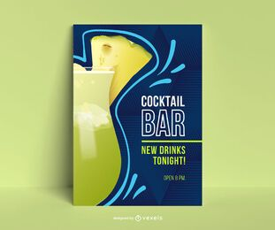 Cocktail bar poster template