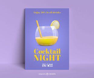 Cocktail Nacht Poster Vorlage