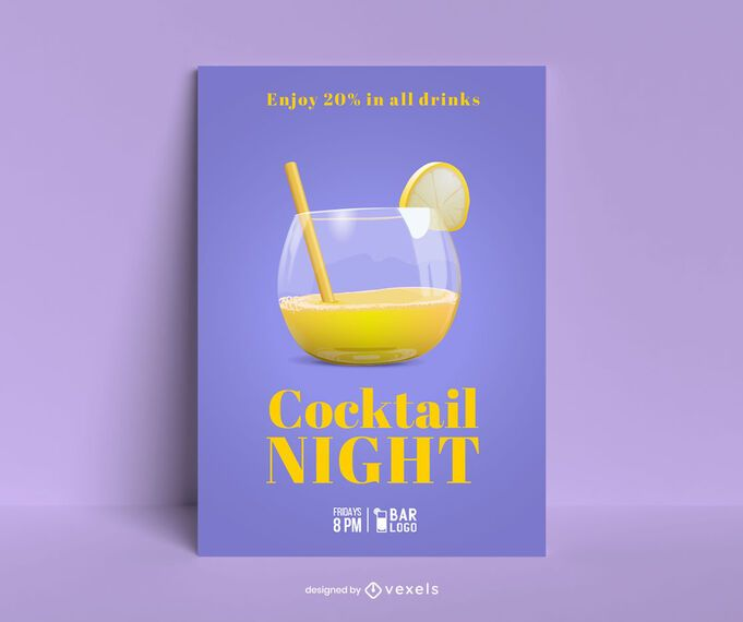 Cocktail night poster template