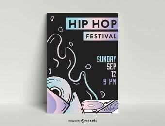 Plantilla de cartel de festival de hip hop