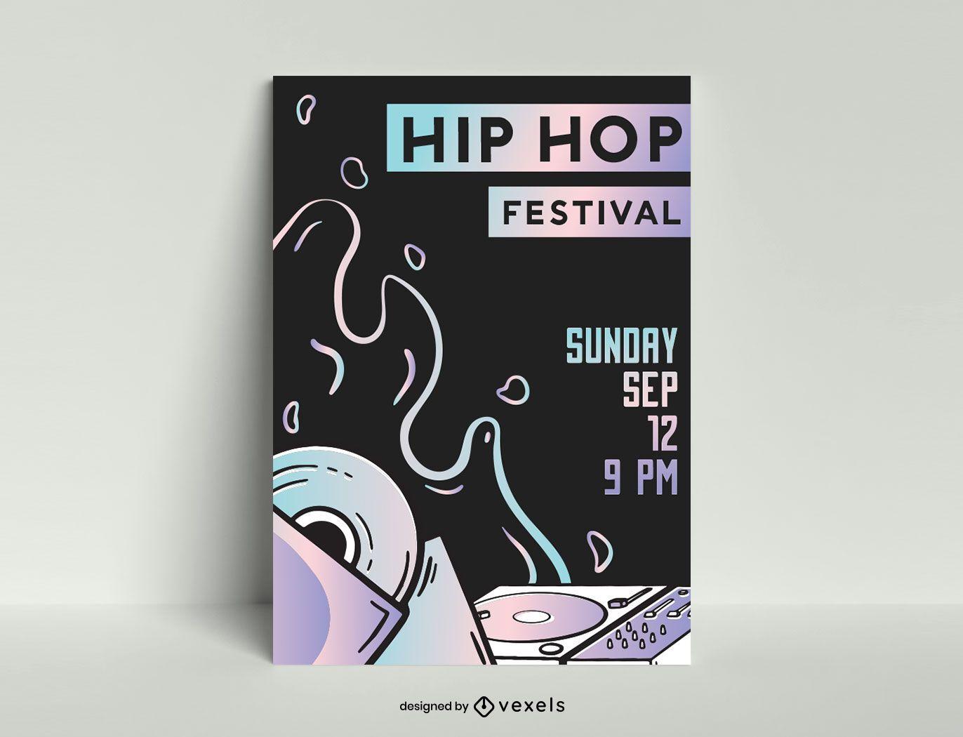 Hip hop festival poster template