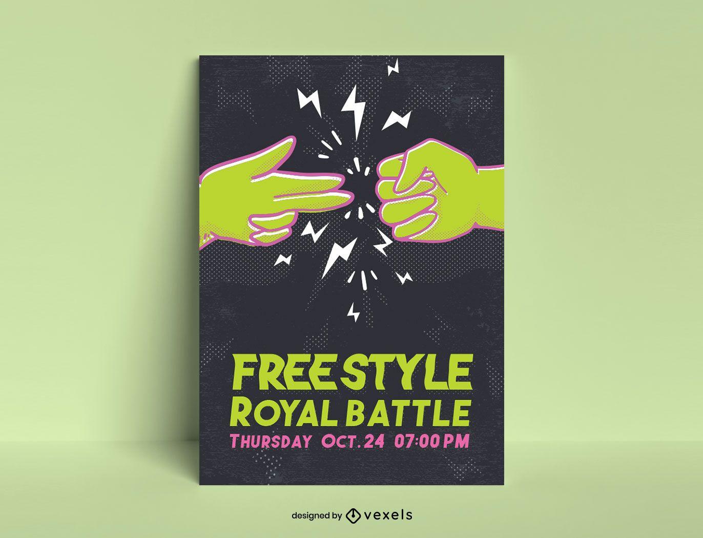 Plantilla de póster de batalla de estilo libre