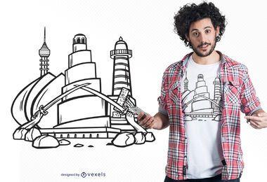Diseño de camiseta de monumentos de Irak